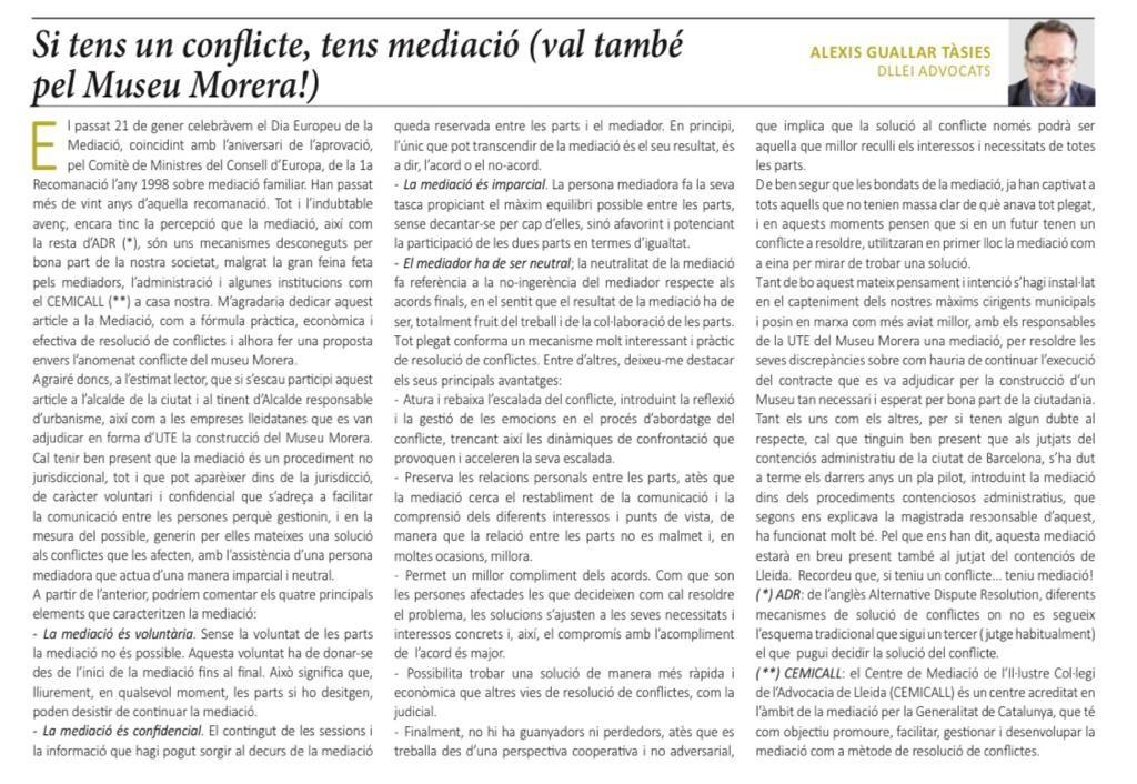 Compartimos el último artículo sobre Mediación que hoy publica la Manyana.